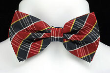 New Red & Navy Plaid Mens Bow Tie Hanky Hankie Tuxedo Wedding Fashion Bowtie Set