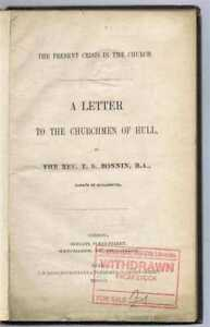 Yorkshire: Present Crisis in Church, Letter to Churchmen, Hull 1850, Oxford Mov.