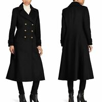 Ralph Lauren Black Wool-Blend Double-Breasted Long Coat Size 16 - New