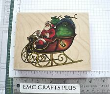 SANTA  IN SLEIGH LARGE RUBBER STAMP by STAMPABILITIES 468488-TR