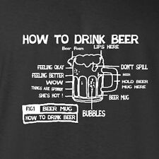 Funny Beer T-shirt How to drink beer keg cooler beer pong accessory cups 8-5xl