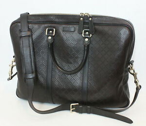 GUCCI Hilary Lux Diamante Dark Briefcase 208463 Brown Leather Laptop Bag Satchel
