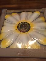 "New Large Metal Wall Hanging Colorful Collectible Flower Off White 18"" Across"