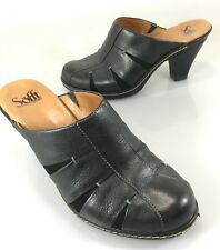 """Sofft Womens 9.5 M Black Leather Slides Mules Shoes 3.5"""" Heels"""