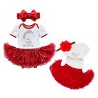 Newborn Christmas Infant Baby Girl Santa Romper Sequin Tutu Dress Outfit Set