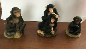 3 x Monkey Chimpanzee Ornaments
