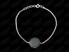 925 Sterling Silver Bracelet Gemstone Black Onyx Circle Disc & Cubic Zirconia