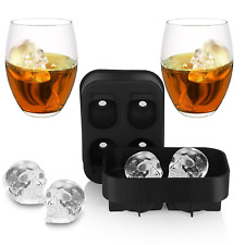 3D Skull Flexible Silicone Ice Cube Mold Tray Makes Four Giant Skull Halloween