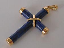 ☆☆ Nice ☆☆ Kreuz in aus 14kt 585 Gold Anhänger mit Lapis Lazuli Kreuzchen Cross