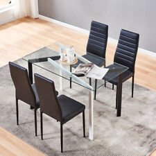Clear Glass Dining Table Metal Legs Dining Room Kitchen Home Furniture Modern