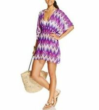 Miken Swim Cover-Up Sz S Purple Mult Chevron Chiffon Tunic Beach Cover I9805C446
