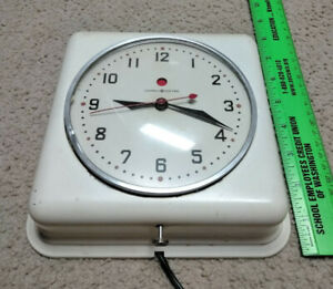 Vintage General Electric Metal Clock Square Wall Mid Century Red Dot Works great