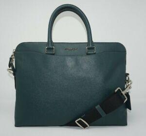 Coach Men's Beckett Forest Green Crossgain Leather Portfolio Briefcase F68029
