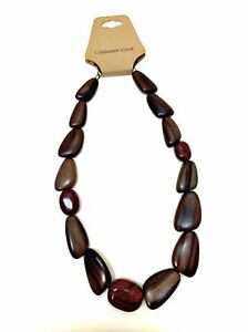 """Genuine Wood & Stone Necklace Coldwater Creek Brown Deep Red 21"""" Long"""