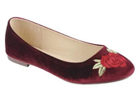 Link Womens Flat Slip On Shoes Dress Shoes Burgundy with Red Rose Falia-42