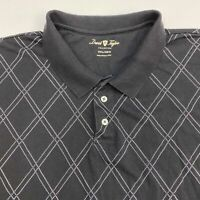 David Taylor Polo Shirt Men's 3XL XXXL Short Sleeve Black Argyle Cotton Blend