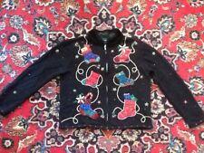 CUTE Designers Originals Stocking Zip Cardigan Christmas Sweater M Not Ugly EUC