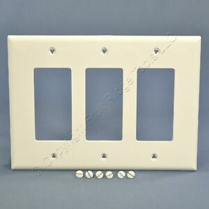 Cooper White 3Gang Decorator UNBREAKABLE Mid-Size Wallplate GFI GFI Cover PJ263W