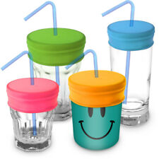 Reusable BPA Free Silicone Spill-Proof Straw Lids for Most Drinking Cups- 4 Pack