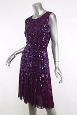 OSCAR DE LA RENTA Womens Purple Sequin Beaded Embellished Ikat Dress 8 NWOT