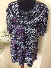 Designer Kam Tong Fashion DAMES FEMME TAILLE XL/XXL purpleblackwhite Excellent cond