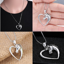 Silver Plated Horse Pendant Heart Charm Necklace Animal Fashion Jewelry Women