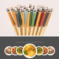 Natural Bamboo Chopsticks Panda Dot Wooden Kitchen Tool Reusable Tableware-