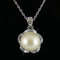 18k white Gold GF pearl with Swarovski crystals elegant pendant necklace