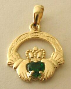 GENUINE SOLID 9ct 9K YELLOW GOLD   EMERALD IRISH CLADDAGH Love Heart Pendant