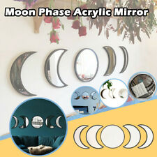 Nordic Style Wooden Decorative Mirror Moon Phase Mirror Bedroom Acrylic Mirror