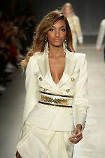 BALMAIN x H&M White Double Breasted Wool Satin Blazer Jacket EUR 42 US 12 UK 16