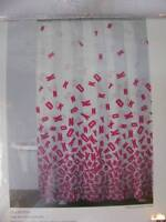 DKNY ART DECO Cotton Shower Curtain White/Pink Colors New