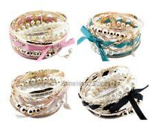 Geflochtene Modeschmuck-Armbänder mit Perlen