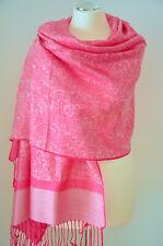 Pashmina Schal Tuch Stola Paisley gewebt 100% Viskose Pink ca.180x70cm