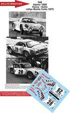 Decals 1/18 ref 568 Alpine Renault A110 Henry Rallye Monte Carlo 1975 Rally WRC