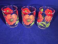 "Set of 3 1970's Vintage Glass Juice Glasses Red Poppy ""L"" logo 4"" tall"