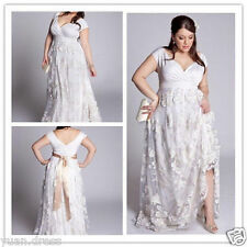 Plus Size White/Ivory Wedding Dresses Bridal Gowns Short Sleeve V-neck Custom