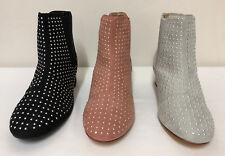 Ladies Womens Chelsea Ankle Boots Cowboy Slip On Block Heel Studded Sizes 3-9