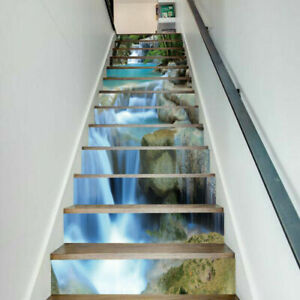 13PCS 3D Stone Waterfall Rock Self-adhesive Staircase Stickers Stair Riser Decal