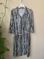 NY Collection Women's Plus 2X Dress White Black Animal Print 3/4 Sleeve Belted