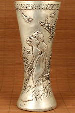 Big Chinese Copper Plating Silver Handmade Carved Belle xishi Statue vase deco