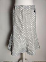 Per Una M&S Women's Skirt A line Grey White Denim Polka Dots Print Casual UK 12