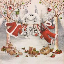 2 single paper napkins for Decoupage New Year Christmas tree Winter santa snow