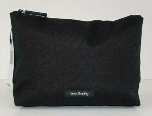Vera Bradley Lighten Up Large Cosmetic Bag BLACK Travel Zip Case NWT
