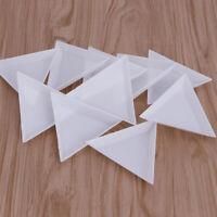 JW_ ALS_ 10Pcs DIY Triangle Nail Rhinestones Beads Plate Art Sorting Tray Pale