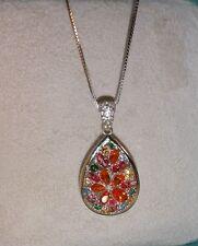 Alwand Vahan Pink-Blue-Orange Topaz Flower sterling silver Pendant Necklace $350