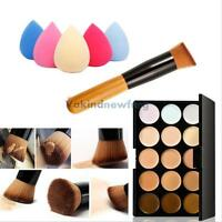 15 Colors Contour Face Cream Makeup Concealer Palette + Powder Brush Sponge Puff
