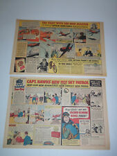 1936-1937 Lot 2 Sunday Comic AD Pages CAPT. HAWKS Sacrab Ring POST BRAN FLAKES