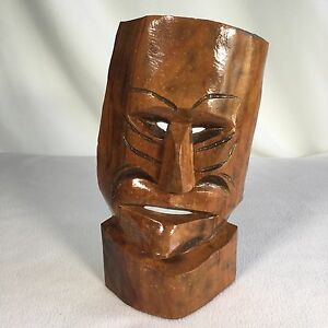 "Handmade Tiki Mask Hand Carved Wooden Signed 11"" Crooked Face Hawaii Style"