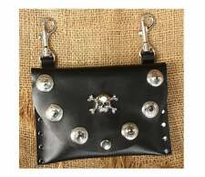 Black leather clip on belt pouch with skull conchos studded Western purse bag